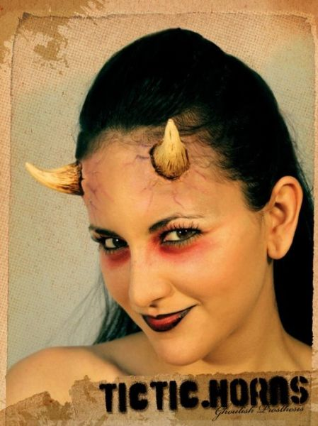 Prosthetic Horns TicTic Latex Devil Lucifer Satan Hen Beast